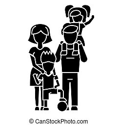 family, father, mother, son  icon, vector illustration, sign on isolated background