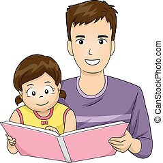Family Father Read Book Kid Girl - Illustration of a Father...