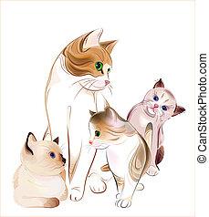 family., felice, kittens., gatto