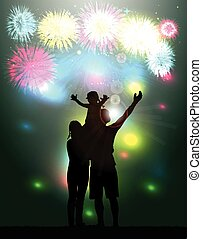 family., feux artifice, partie., silhouette