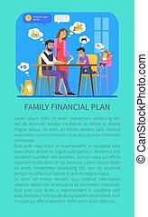 Family Financial Plan Poster Vector Illustration
