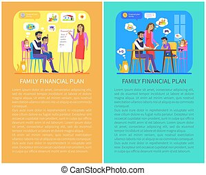 Family Financial Plan Posters Vector Illustration