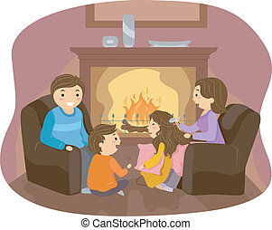 Family Fireplace - Illustration of Stickman Family enjoyng...