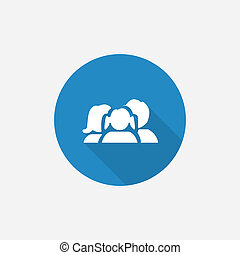 family Flat Blue Simple Icon with long shadow