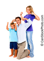 family flexing muscles
