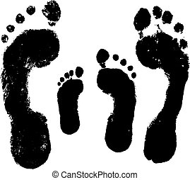 Family footprint, foot imprint of a man, a woman, a child. Vector silhouette on white background