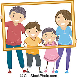Family Frame - Illustration Featuring a Happy Family Holding...