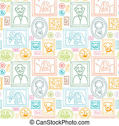 Family framed pictures seamless pattern background - Vector...