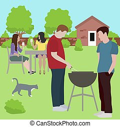 Family friends people on bbq party outdoors Vector
