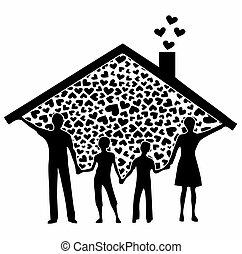 Family full black fill - Family heart vector or fully ...