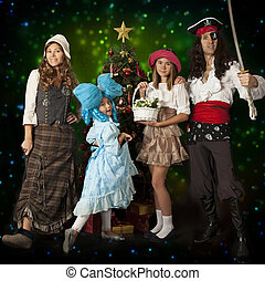 Family fun in carnival costumes