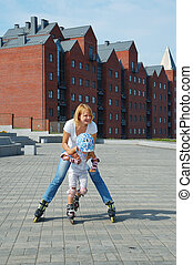 family fun rollerblading