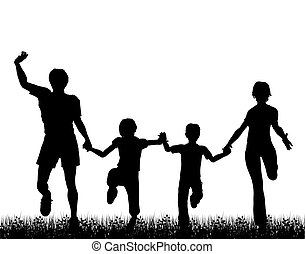 Silhouette of a happy family running through grass