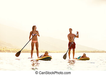 Family Fun, Stand Up Paddling - Family Having Fun Stand Up ...