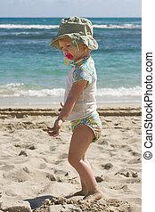 Family Fun Vacations - Toddler girl on beach, family fun...