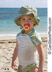 Family Fun Vacations - Toddler girl on beach, family fun...