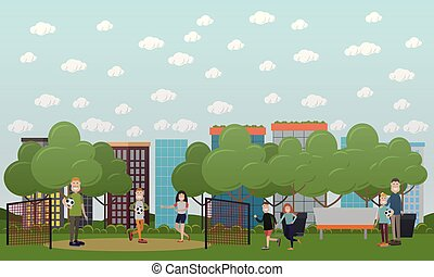 Family games concept vector illustration in flat style