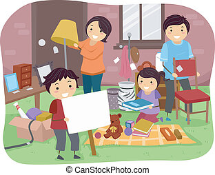 Family Garage Sale - Illustration of a Family Sorting Items...