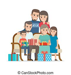 Family Gathered Together Holding Present Boxes - Family...