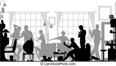Family gathering - Foreground silhouette of a family...