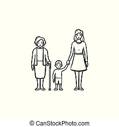 Family generation hand drawn sketch icon.