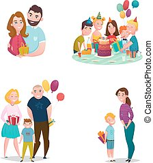 Family Gift Giving Set - Gift giving family flat characters...