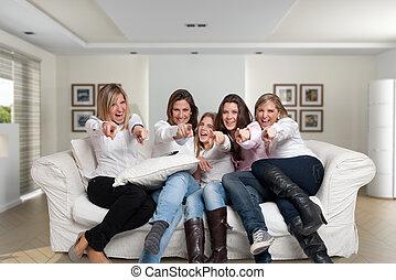 Family girls fun pointing