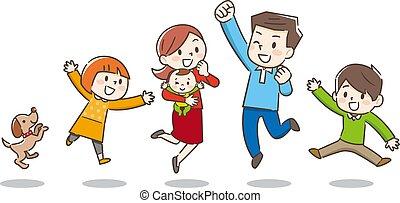 family., glade, vektor, illustration., unge
