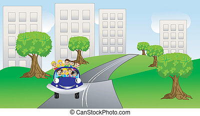 family goes from a city on a car