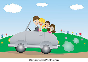 family goes in a trip on a car