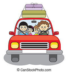 Family goes on holiday by car