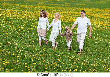family going for a walk