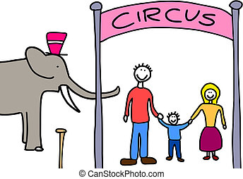 Family going to circus