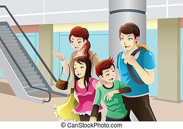 Family going to shopping