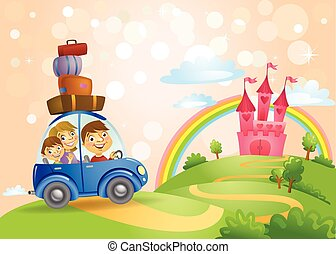 Fairy Tale landscape, the road leading to the castle and a family in the car on it. Vector illustration
