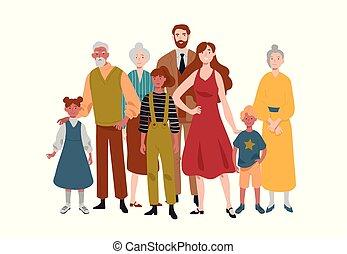 family., grandfather., grand, grand-mère, père, mère,...