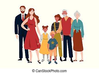 family., grandfather., grand, grand-mère, père, mère, portrait, enfants