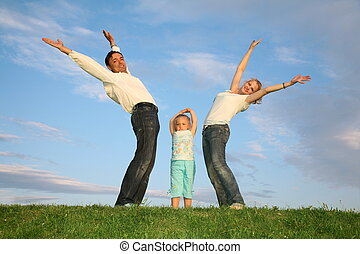 family grass sky