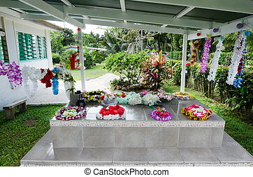 RAROTONGA - SEP 21:Family graves on Sep 21 2013.In Cook Islands, land ownership is based on customary or native title so It's very common by the natives to bury relatives on the family land.