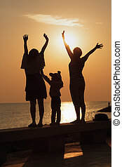 Family greets the dawn