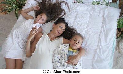 family., haar, moeder, vrolijke , geitjes