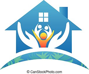 Family hands care house people logo icon vector