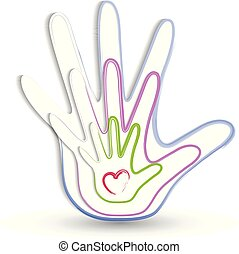 Family hands icon logo
