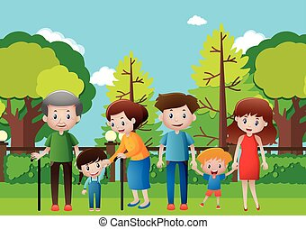 Family hanging out in the park illustration