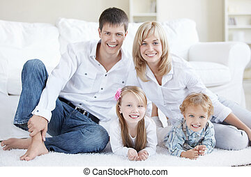 Family Happiness - Positive family with children at home