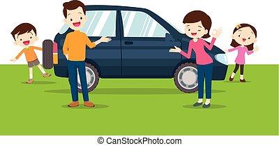 family happy a new car