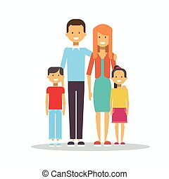 Family Happy Smiling Parents With Two Kids Embracing Isolated