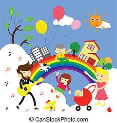 family happy time vector cartoon
