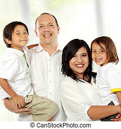 family happy together - close up of Beautiful happy family...