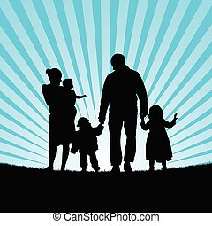family happy with children happy in nature silhouette illustration